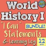 World History I Can Statement & Log Bundle! 10 units! Improve accountability!