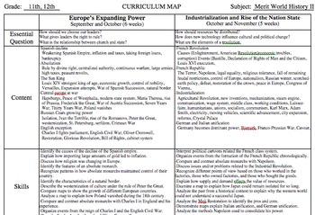 World History II Curriculum Map