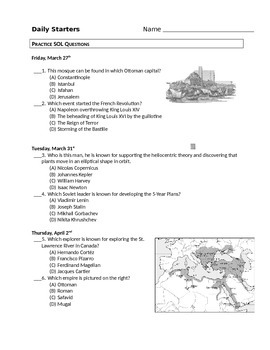 World History II Practice SOL Questions