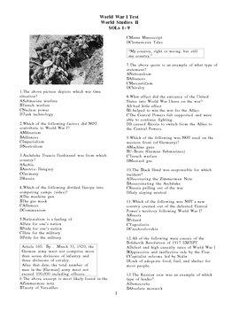 World History II Test:  World War I