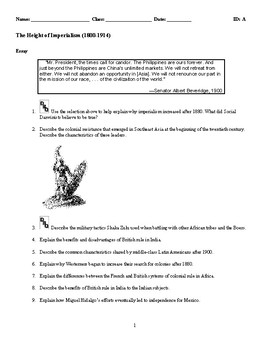 World History - Imperialism (1800-1914) Discussion/Essay Questions