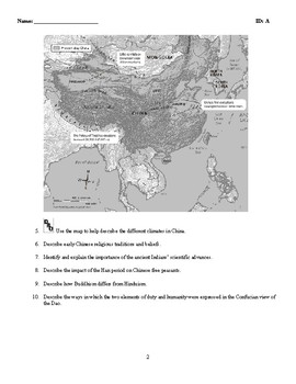 World History - India and China (3000 B.C - A.D. 500) Discussion/Essay Questions