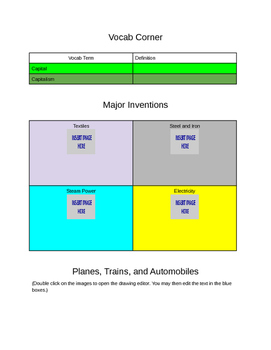World History - Industrialization - Interactive Notebook for Chromebook