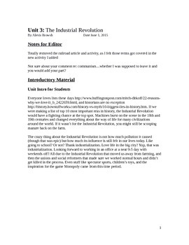 World History Industrialization Unit 18 Lessons