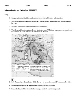 World History - Industrialization and Nationalism (1800-1870) Essay Questions