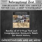 World History Informational Text Homework Bundle