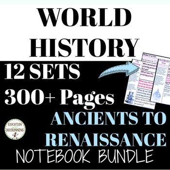 World History Interactive Notebook Ancients to Renaissance (12 sets!) BUNDLE