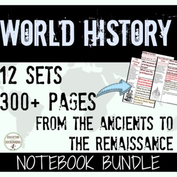 World History Interactive Notebook Pages - Ancients to Ren