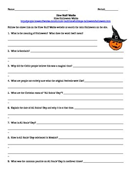 World History Internet Assignment How Stuff Works-  History of Halloween