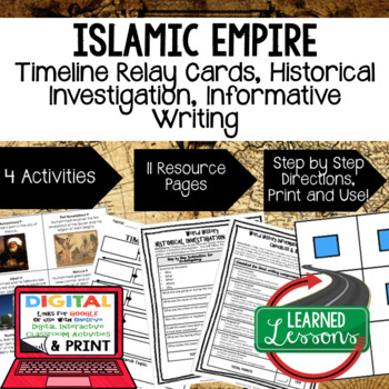 Islamic Empires Timeline Relay & Writing  with Google Link World History