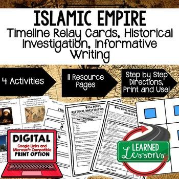 World History Islamic Empires Timeline Relay & Writing  wi