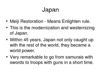 World History Japanese Modernization and American Expansion