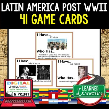 World History Latin America 1945 Post WWII 41 I Have Who Has Game Cards