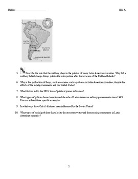 World History - Latin America (1945-Present) Discussion/Essay Questions
