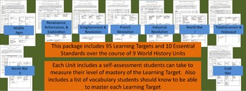 World History Learning Targets, Essential Standards, & Study Guides