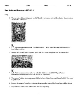 World History -Mass Society and Democracy (1870-1914) Discussion/Essay Questions