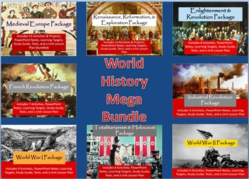 World History Bundle - 8 Units - Medieval Period to World War II