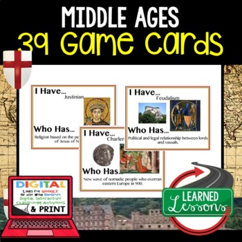 World History Middle Ages, Feudalism, Crusades 39 I Have Who Has Game Cards