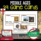 Middle Ages Game Cards World History Test Prep Print & Dig