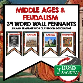 World History Middle Ages, Feudalism, Crusades Word Wall (39 Word Pennants)