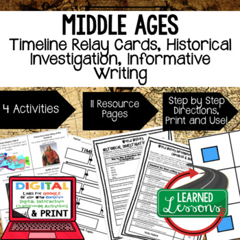 World History Middle Ages Timeline Relay, Research, Writing with Google