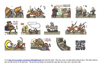 World History Middle Ages Video Timeline Comic Strip w/ Worksheet