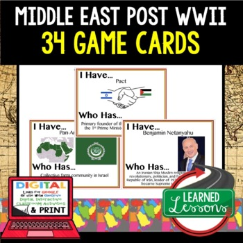 World History Middle East 1945 Post WWII 34 I Have Who Has Game Cards