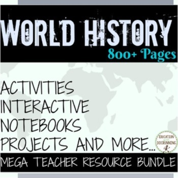 World History Middle school Curriculum Bundle (MY LIBRARY with RECENT UPDATES)