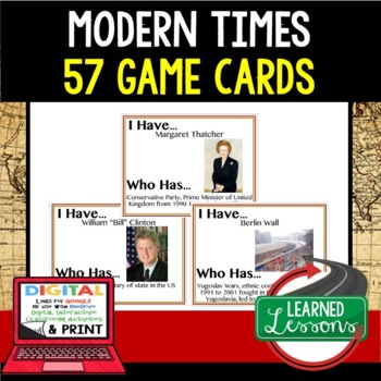 World History Modern World Issues 57 I Have Who Has Game Cards