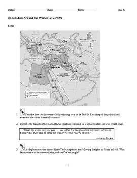 World History-Nationalism Around the World(1919-1939) Discussion/Essay Questions