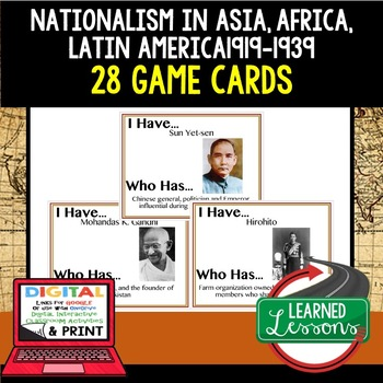 World History Nationalism in Asia, Africa & Latin America 28  Game Cards