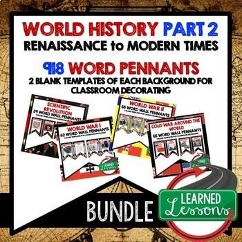 World History Part 2 Word Wall Pennants BUNDLE Renaissance to Modern Times