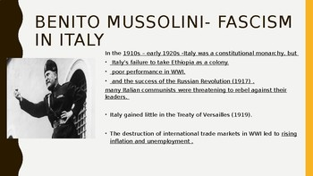 World History Power Point:  Fascism Hitler and Mussolini