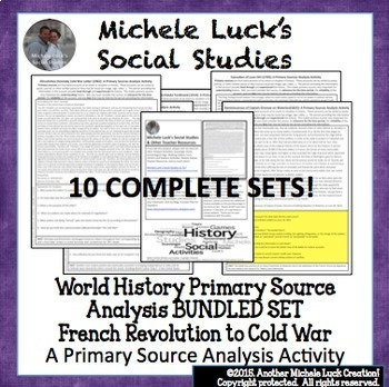 World History Primary Source Analysis BUNDLED SET! French Revolution to Cold War