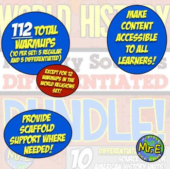 World History Primary Source Bundle! 112 DIFFERENTIATED Warmups in World History