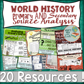 World History Primary and Secondary Source Analysis GROWING Bundle