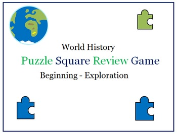 World History Puzzle Squares (Beginning - Exploration)- Great Review Game!