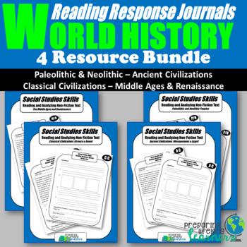 World History Reading Response Journal Bundle