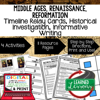 World History Renaissance & Reformation Timeline & Writing with Google Link