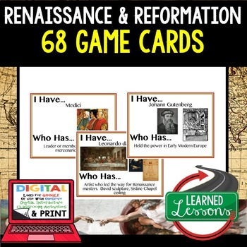World History Renaissance and Reformation 68 I Have Who Has Game Cards