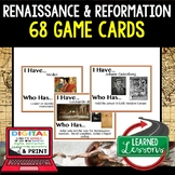 Renaissance and Reformation Game Cards, World History Test Prep