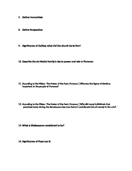 Renaissance & Reformation Unit Study Guide (World History)