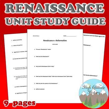 Renaissance & Reformation Unit Study Guide (World History)