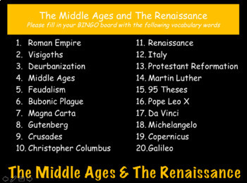 The Middle Ages & The Renaissance: World History Review PowerPoint Presentation