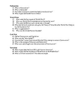 World History Review Sheet