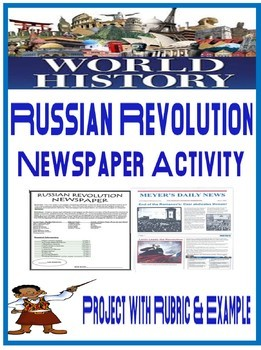 World History Russian Revolution Newspaper Project Rubric with Example