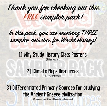 World History Sampler Pack: 3 Free Activities for World History!