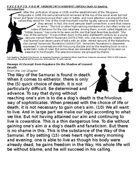 World HistorySamurai Bushido Codes Of Conduct Reading And SAT
