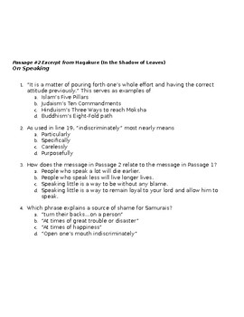 World History:Samurai, Bushido Codes of Conduct Reading and SAT Style questions