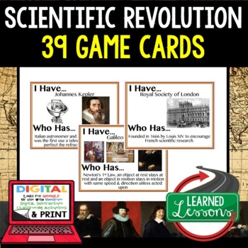 World History Scientific Revolution 39 I Have Who Has Game Cards